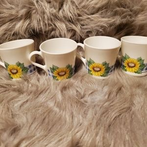 Corning Ware Sunflower White Coffee Cups